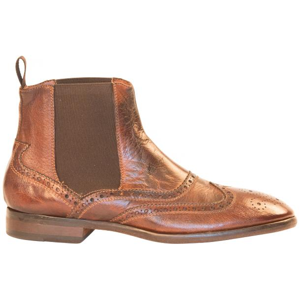 Cameron Dip Dyed Brown Nappa Leather Wingtip Chelsea Boots full-size #4