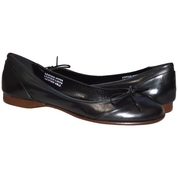 Amelia Dip Dyed Black Nappa Leather Ballerina Flat thumb #1
