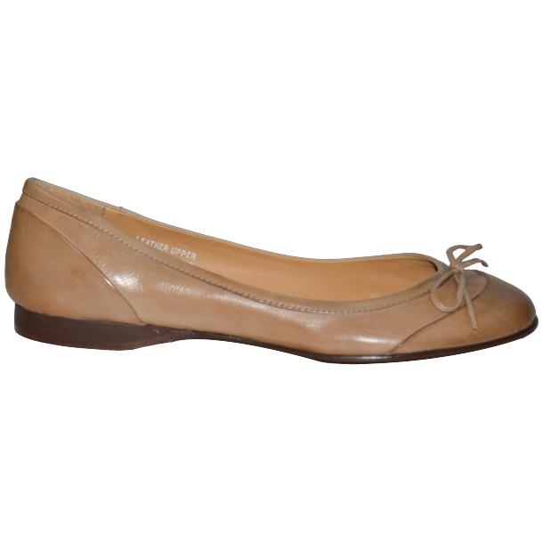 Amelia Dip Dyed Cream Nappa Leather Ballerina Flat thumb #3