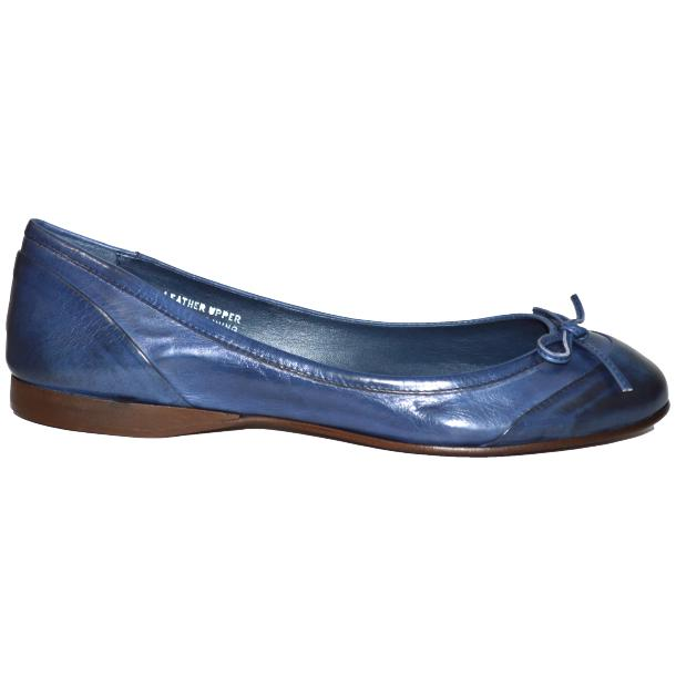 Amelia Dip Dyed Blue Nappa Leather Ballerina Flat thumb #3