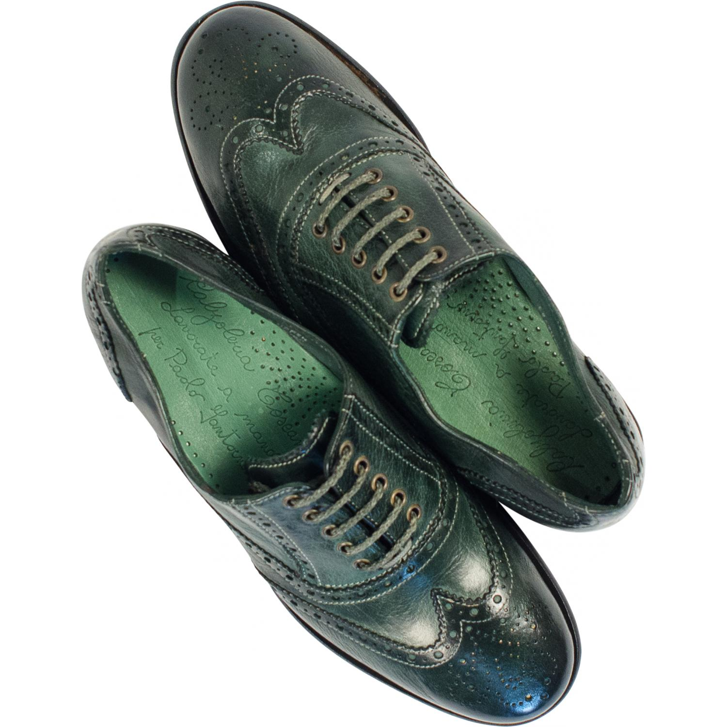 Ashley Dip Dyed Green Leather Oxford Lace Up Shoes Paolo