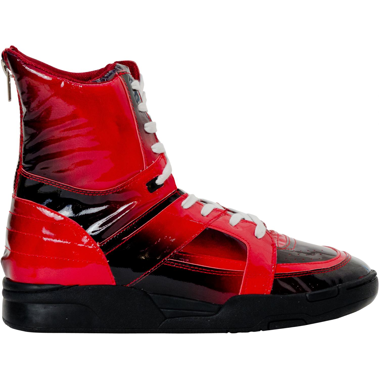 Rockstar Crimson Red Patent Leather High Top Sneakers