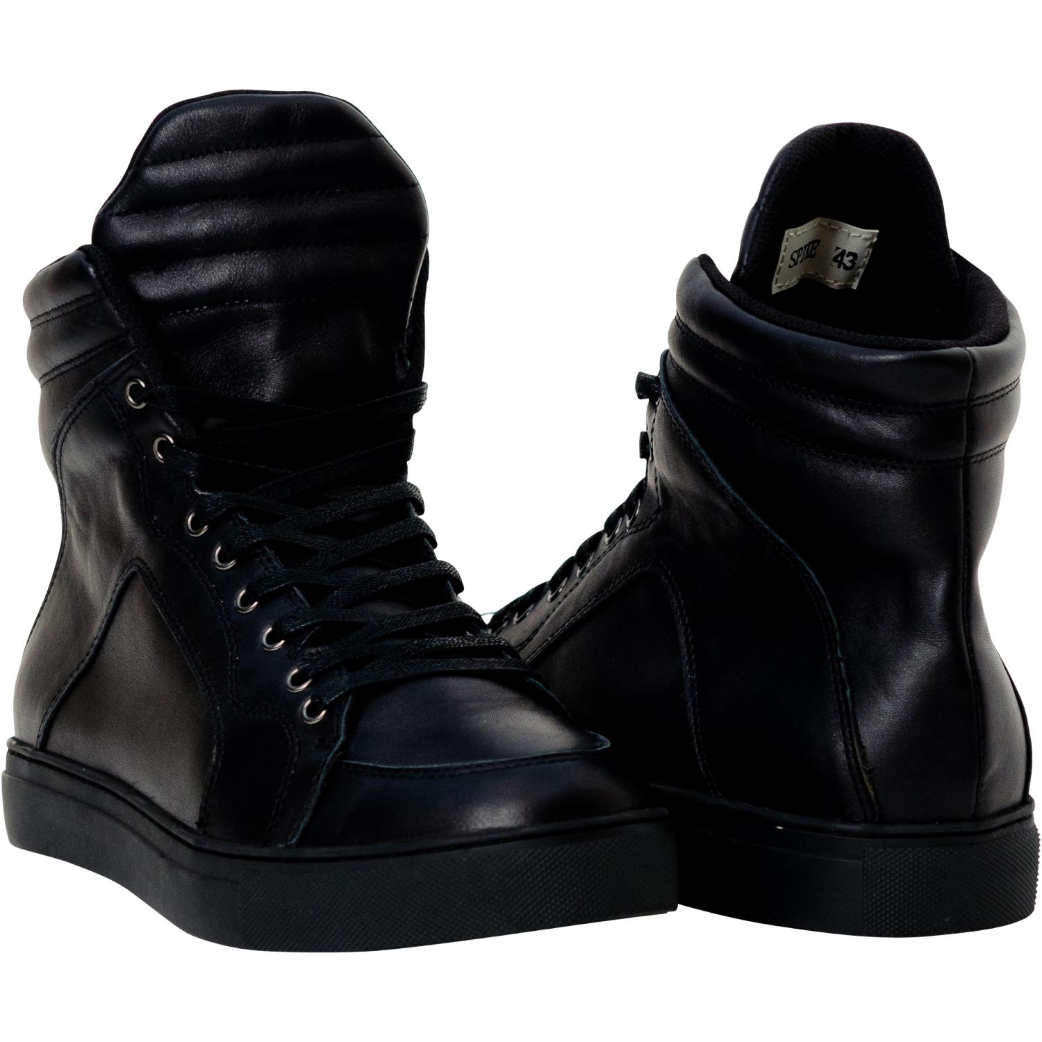 Spike Matte Black Nappa Leather High Top Sneakers   Paolo ...