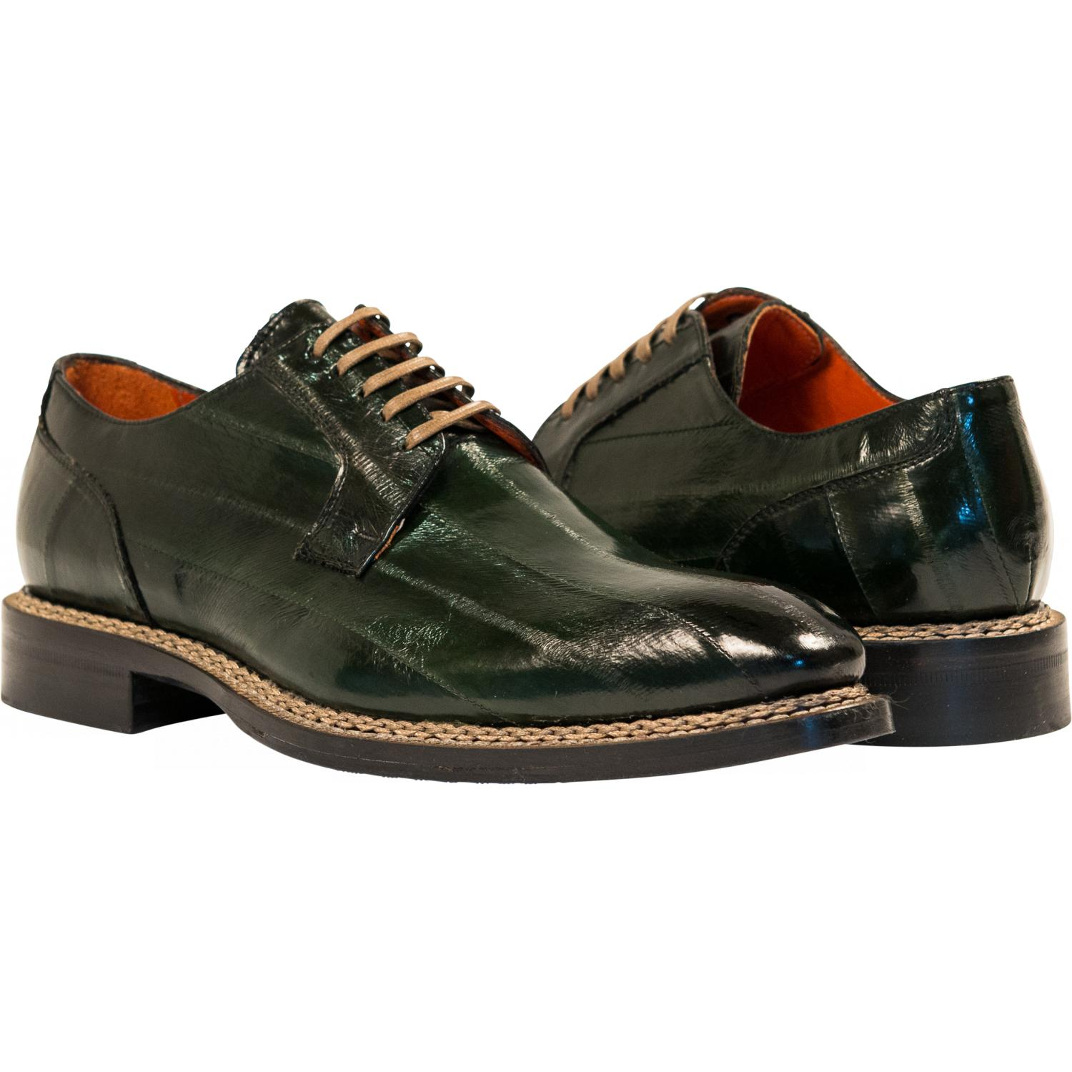 Terry Dark Green Quot Verde Quot Eel Skin Laced Up Dress Shoes