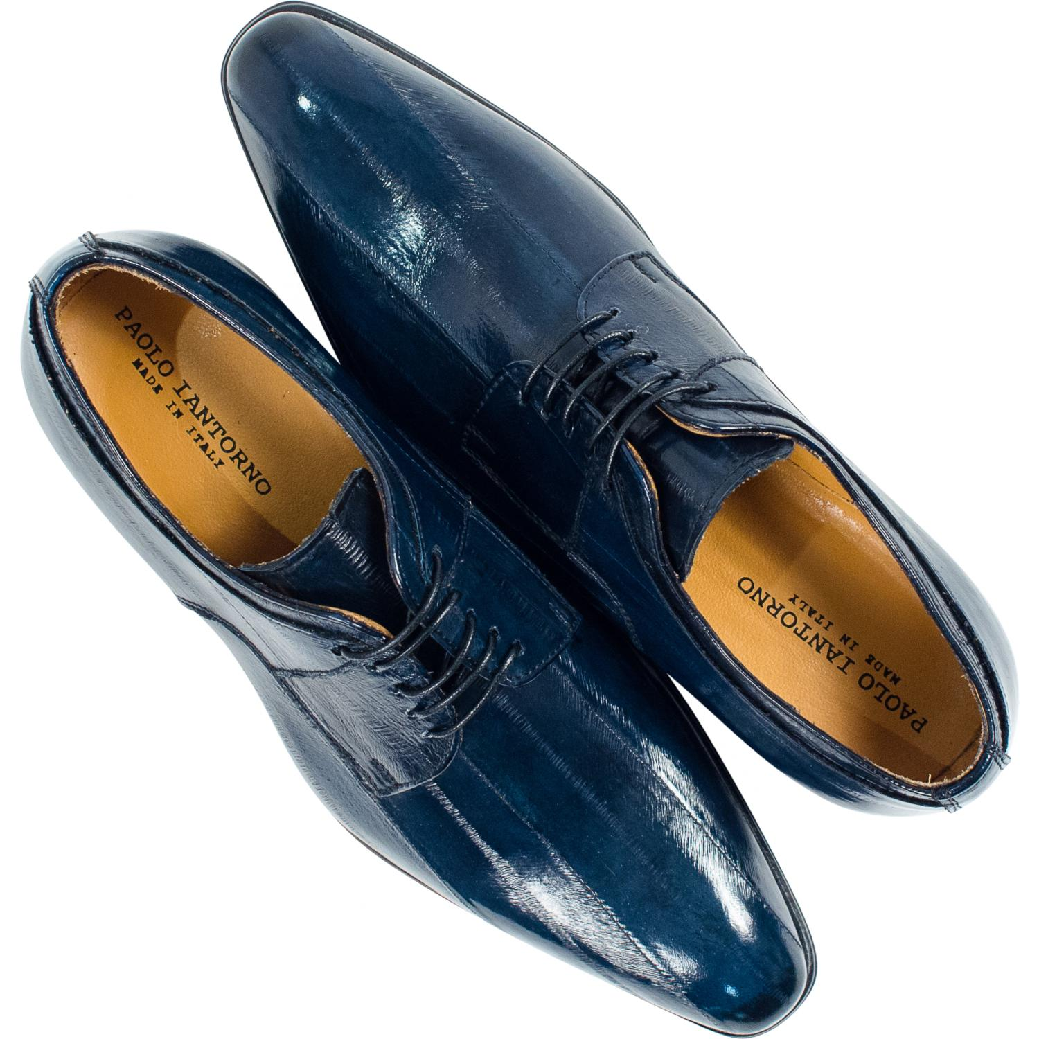 Craig Blue Eel Skin Laced Up Dress Shoes Paolo Shoes
