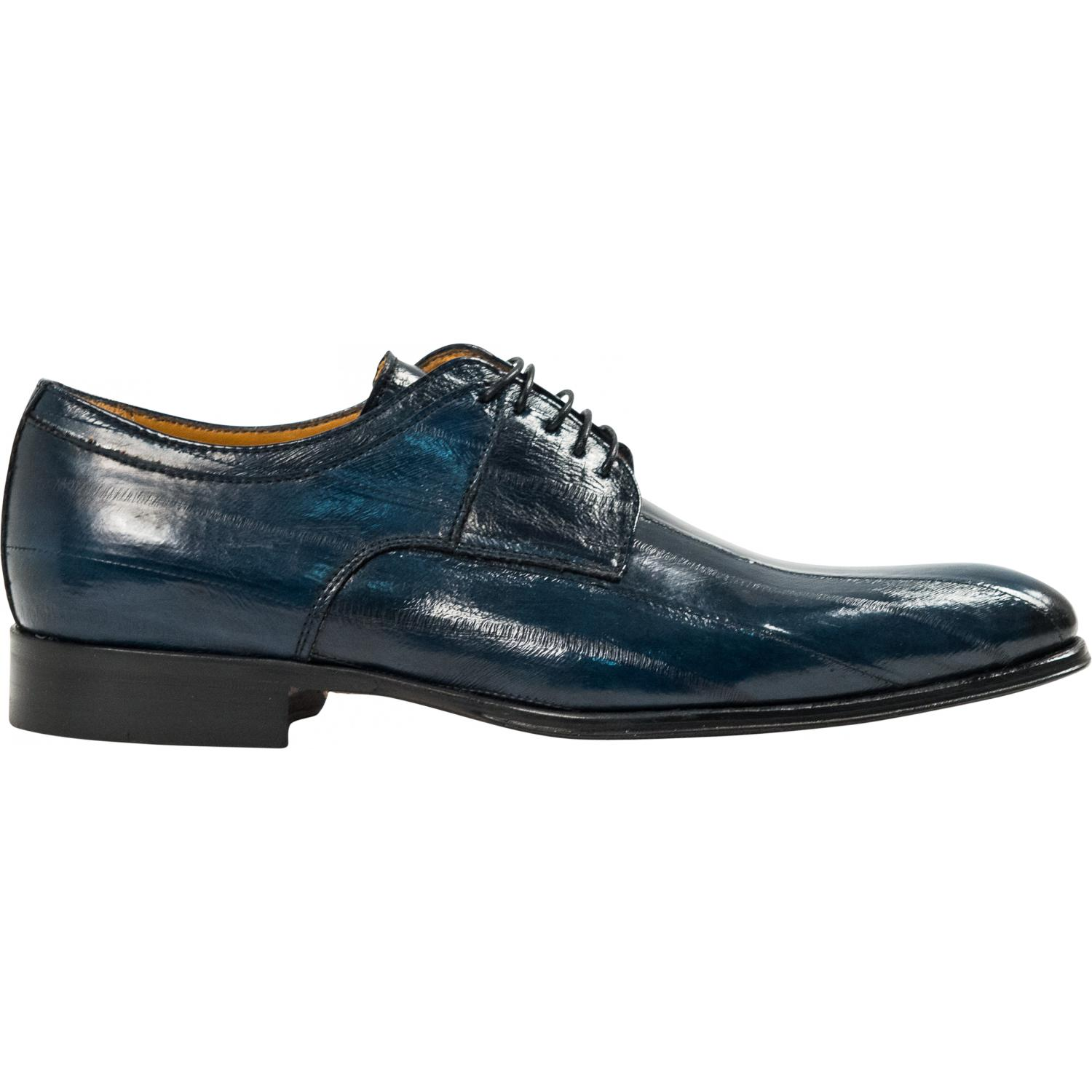 Craig Blue Eel Skin Laced Up Dress Shoes Paolo