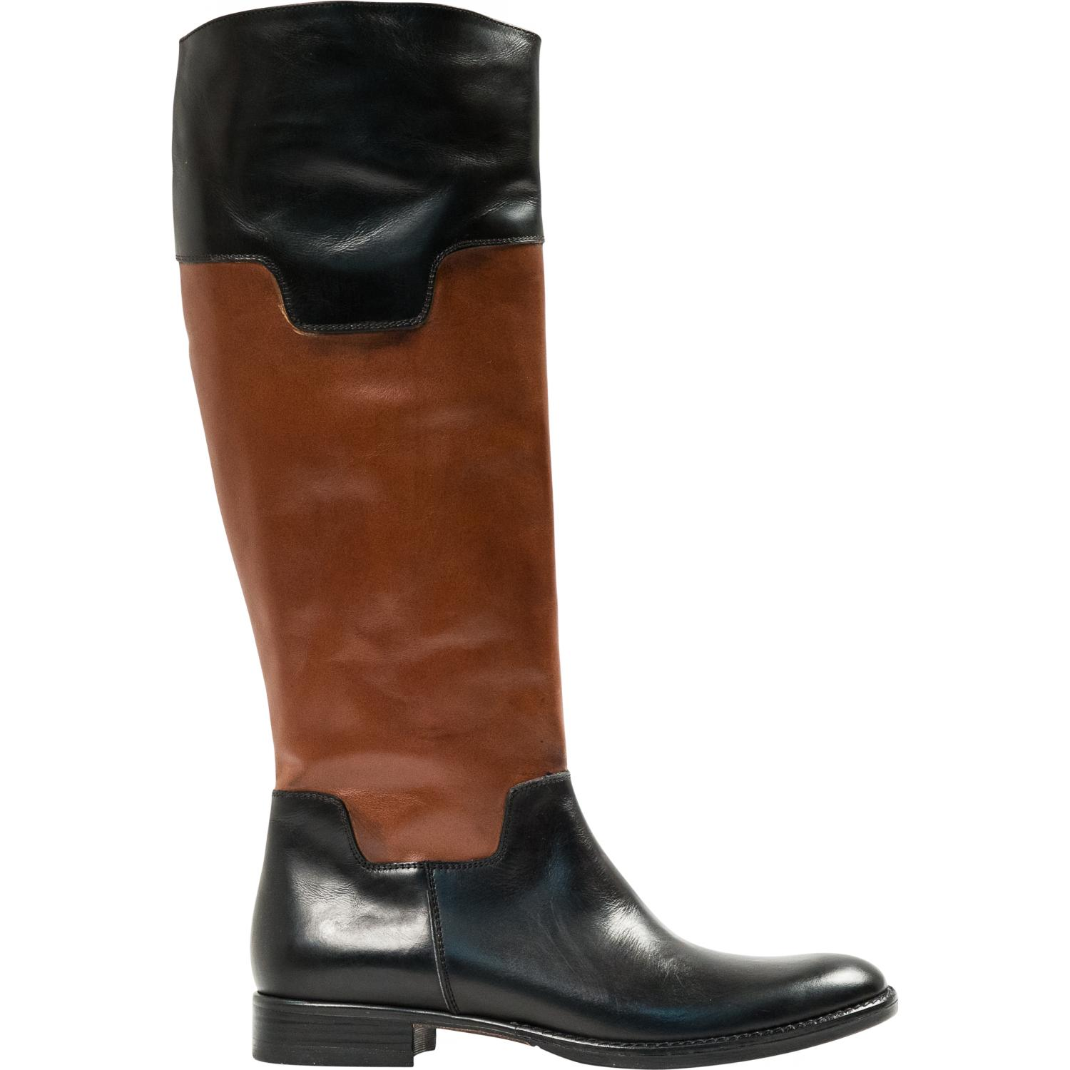 Lori Black And Brown Nappa Leather Tall Riding Boots Paolo Shoes