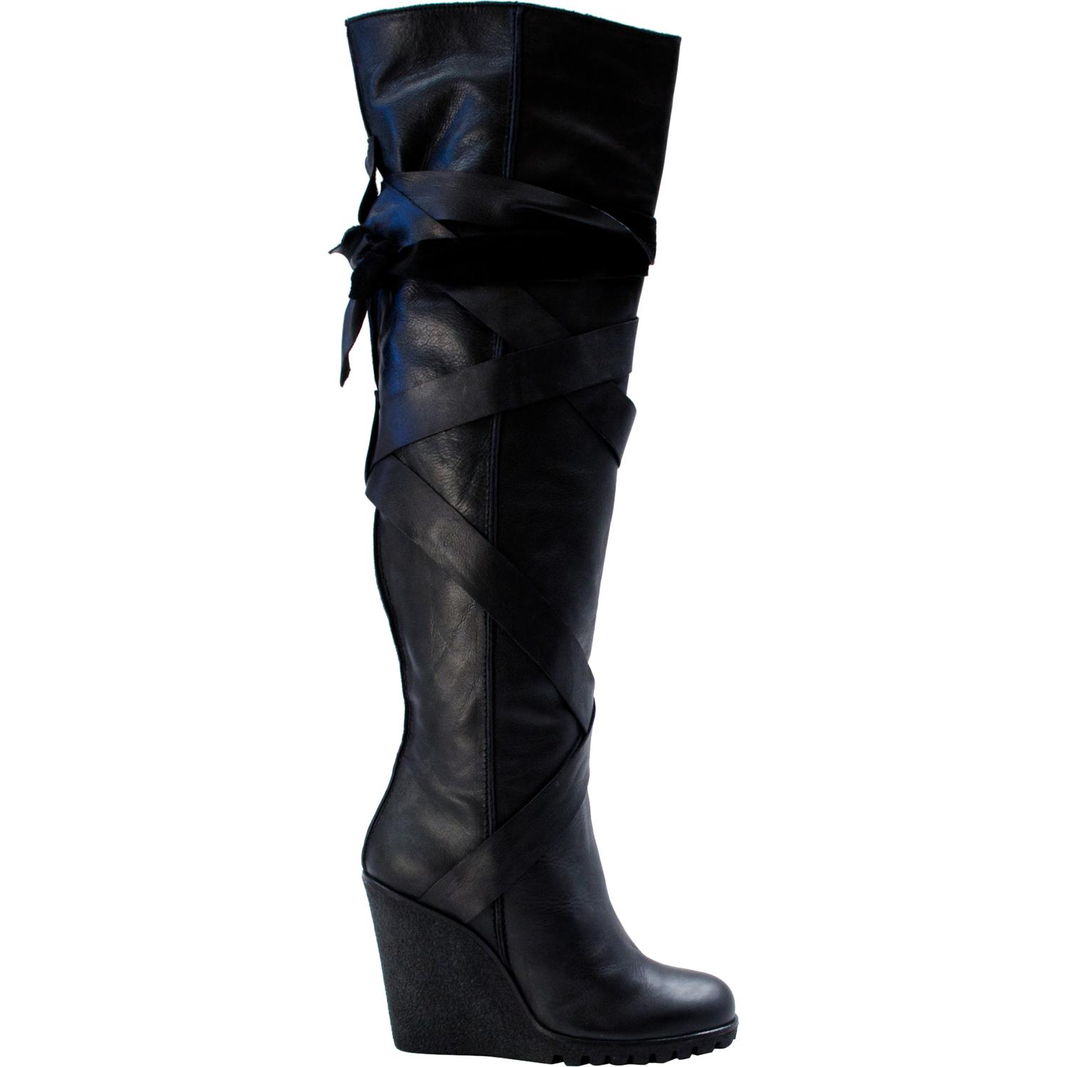 Regina Over The Knee Wedge Boots Black Paolo Shoes