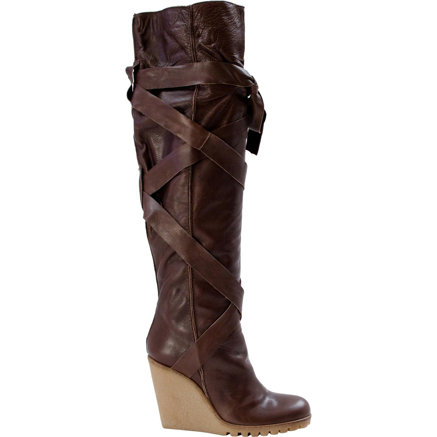 Regina Over The Knee Wedge Boots Brown Paolo Shoes