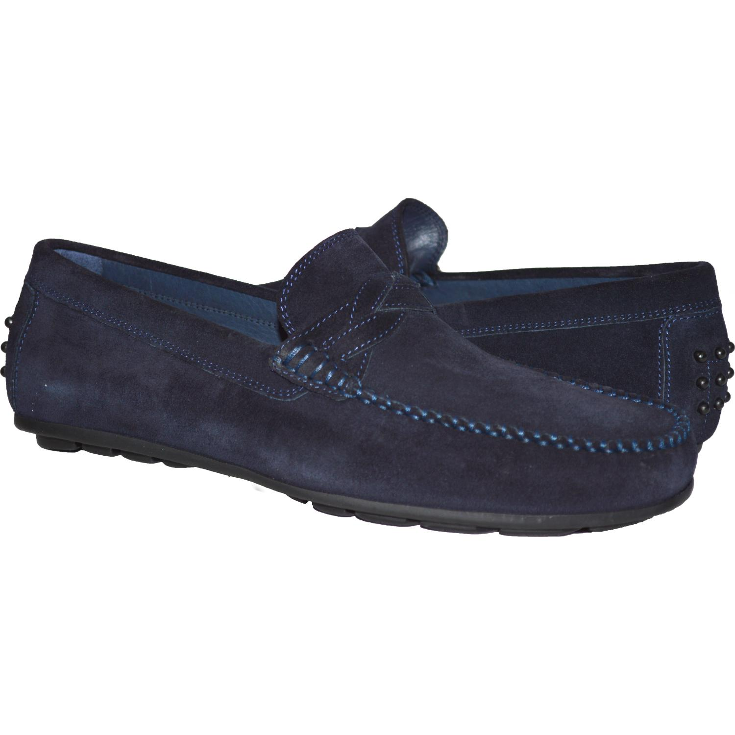 Dino Blue Suede Driver Loafers | Paolo